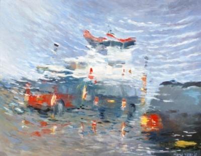 Olieverf schilderij door Marco Käller: Ameland boot van 16 uur 30
