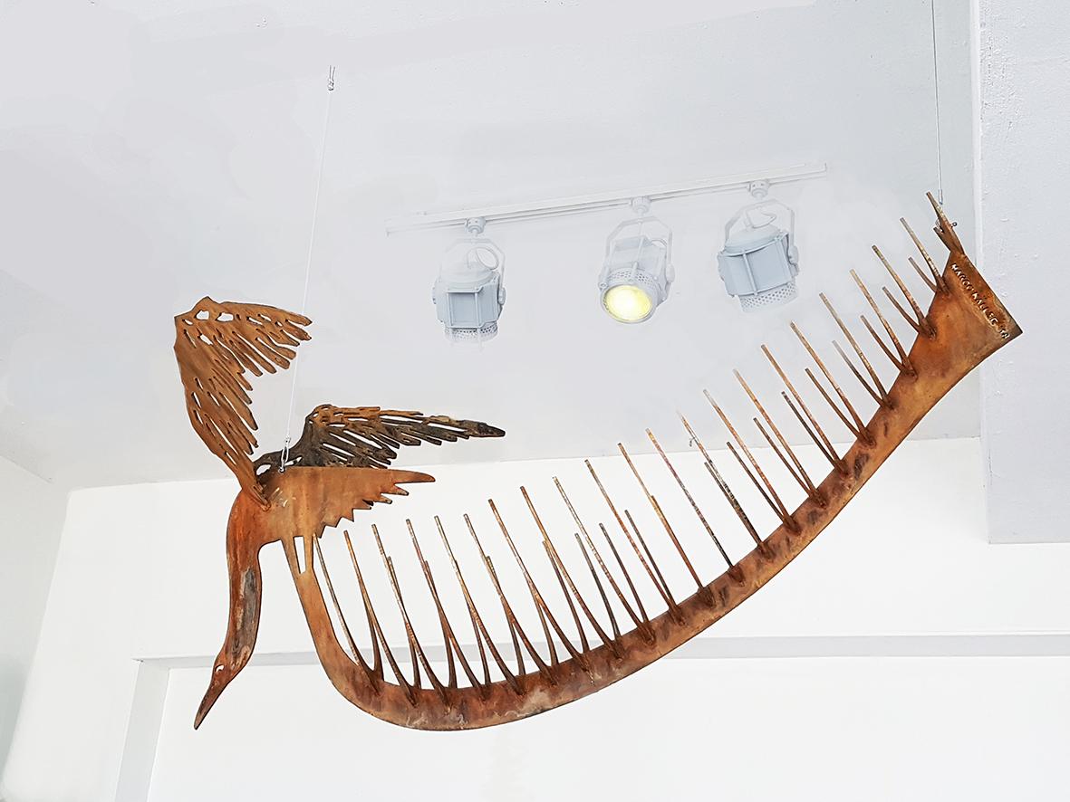 boat cormorant Marco Käller cortensteel sculpture