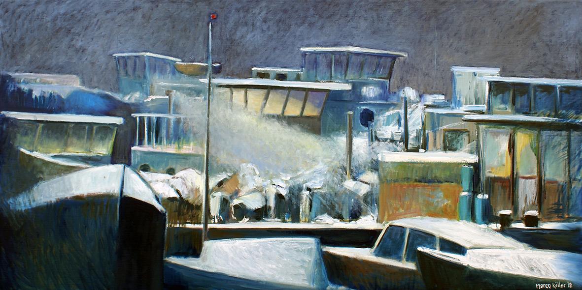 Schellingwoude de winter door, schilderij Marco Käller