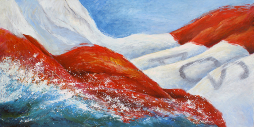 falling spinnaker, sailing scene in oil paint on canvas