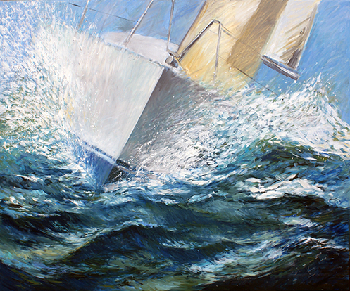 Bow, sailing boat in waves painted in oil on canvas . A trip along the North Sea coast inspired artist Marco Käller to create this painting. Waves on the bow of the boat for ten hours